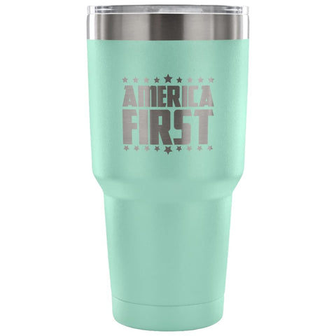 Image of American Greatness AMERICA FIRST Tumbler (30oz) - 30 Ounce Vacuum Tumbler - Teal - Tumblers