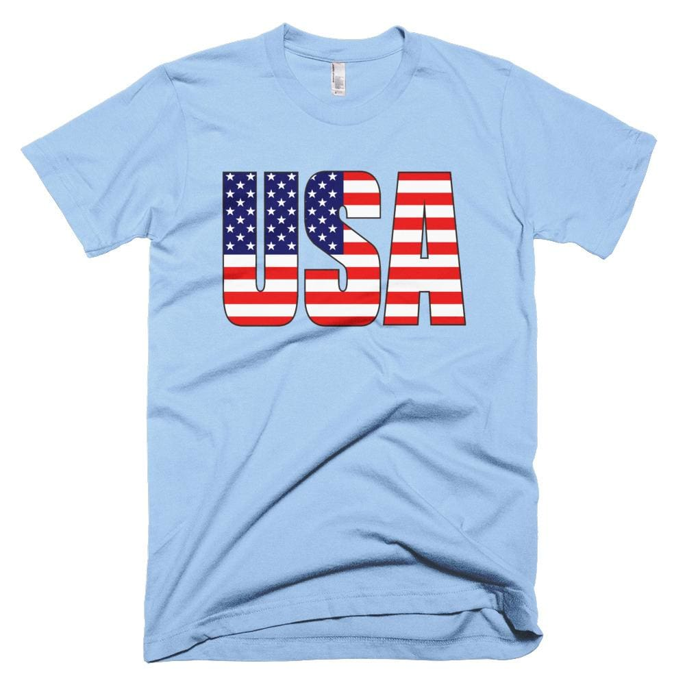 USA *MADE IN THE USA* Unisex T-shirt - Baby Blue / XS