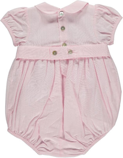 Baby Girl Smocked Romper Suit Pink - Eat Play Love