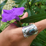 Ethical Australian Blue Boulder Opal Silver Statement Ring
