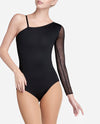 Single Sleeve Mesh Asymmetrical Leotard