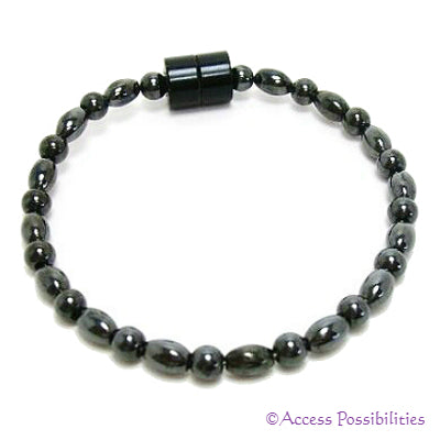 Baby Rice And Round Magnetite Magnetic Anklet
