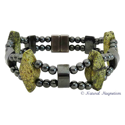 Serpentine Double Magnetite Magnetic Bracelet