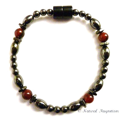 Agate Hex And Rice Magnetite Magnetic Anklet