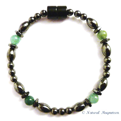 Aventurine Hex And Rice Magnetite Magnetic Anklet