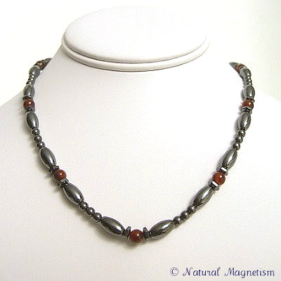 Agate Hex And Rice Magnetite Magnetic Necklace