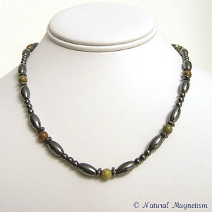 Green Jasper Hex And Rice Magnetite Magnetic Necklace