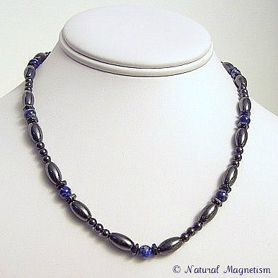Lapis Lazuli Hex And Rice Magnetite Magnetic Necklace