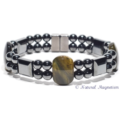 Blue Tiger Eye Double Magnetite Magnetic Bracelet