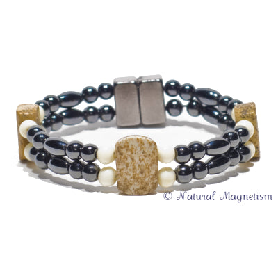 Picture Jasper And Bone Double Magnetite Magnetic Bracelet