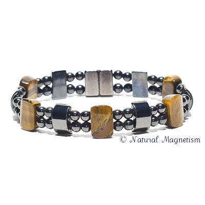 Tiger Eye Double Magnetite Magnetic Bracelet