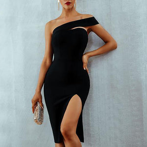 Sexy Slit Irregular Off-Shoulder Bare Back Bodycon Dress