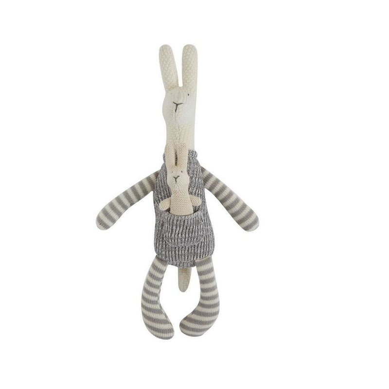 Cotton Knit Kangaroo With Baby Plush - Toys