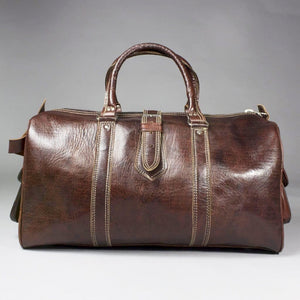 Mido - Large Moroccan Dark Leather Weekend Travel Bag