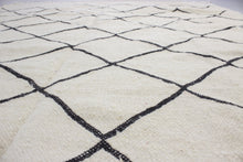 Load image into Gallery viewer, Rabia - Large Thin White And Black Hand-knotted Wool Berber Rug