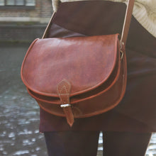 Load image into Gallery viewer, Sofia Small Brown Leather Saddlebag Crossbody Handbag