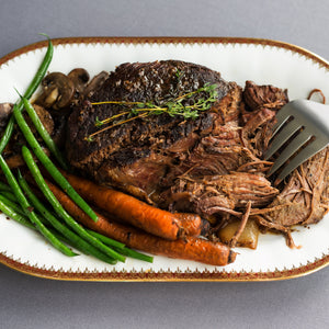 Grass fed, rare breed beef silverside slow cook roast