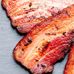 Free range Tamworth streaky bacon dry cured unsmoked