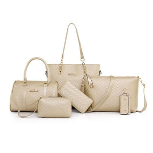 Women's Fashion Composite Bags Handbag 6Pc Set - ElegantBags.Shop