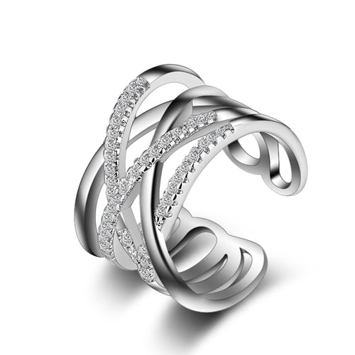 Women's Sterling Silver Austrian Crystal Weave Jewelry Ring - ElegantBags.Shop