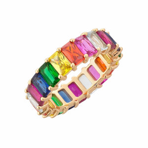 Women's Fashion Jewelry Rainbow Square Baguette Ring - ElegantBags.Shop