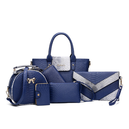 Women's Fashion Leather Python Pattern 6-piece Handbag Set - ElegantBags.Shop