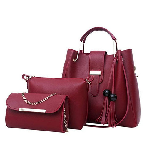 Women's 3-Piece Leather Modern Fashion Handbag Set - ElegantBags.Shop
