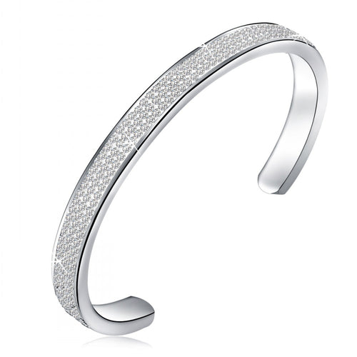 Women's Friendship Stainless Steel Crystal Open Ended Bangle Bracelet Jewelry - ElegantBags.Shop