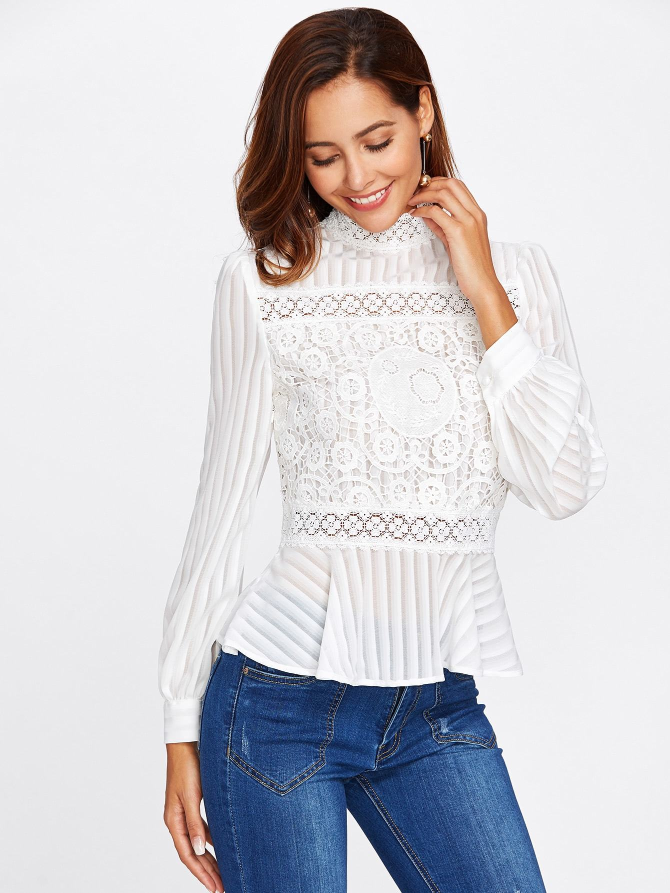 Lace Peplum Blouse - LoveSylvester