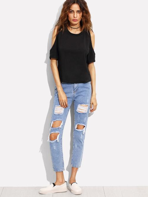 Distressed Ankle Jeans - LoveSylvester