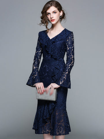 Elegant Lace V-Neck Puff Sleeve Mermaid Bodycon Dress
