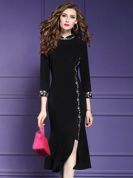 Vintage Black Stand Collar 3/4 Sleeve Cheongsam Dress