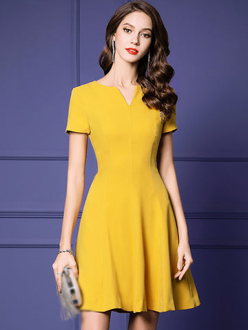 Summer Fashion Yellow Silm High Waist Short Sleeve Sheath Skater Dress