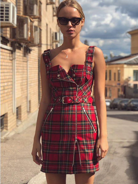 Street Plaid Sashes Stitching Irregular Bodycon Dress