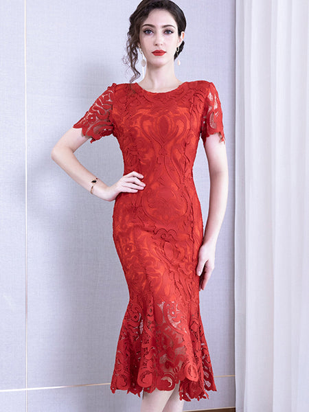 Mermaid Lace High Waist Hollow Out Sheath Dress