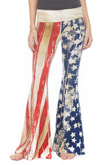 T-Party Patriotic Yoga Pants with Wide Bell Bottom Flares
