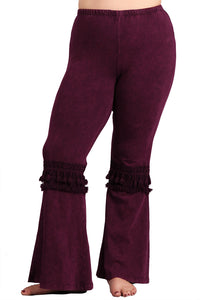 Women's Plus Tassel Bell Bottom Stretch Yoga Pants Burgundy