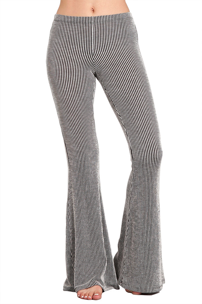 Ribbed Pinstripe Bell Bottom Stretch Yoga Pants