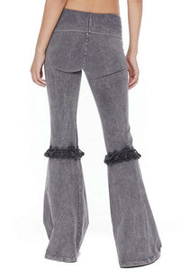 T-Party Grey Tassel Bell Bottom Yoga Pants