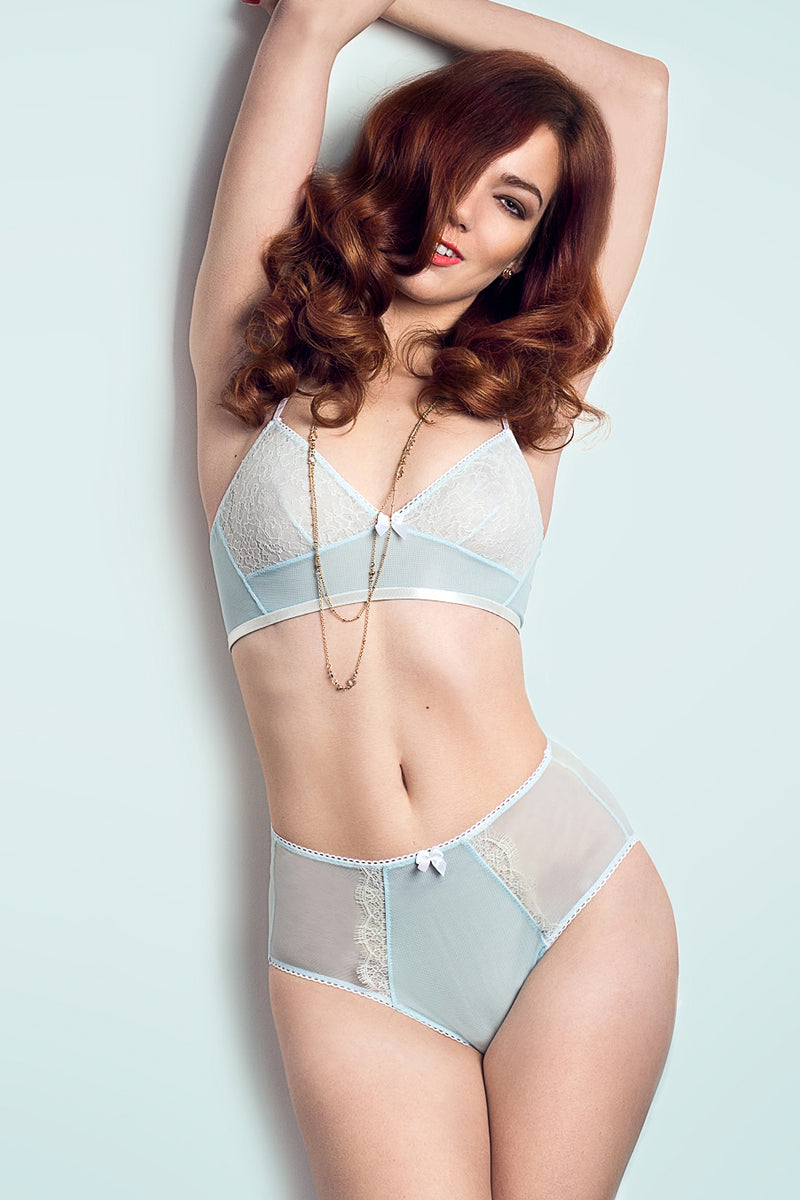 Angela Friedman - blue mesh and French lace bralettes, lace bras and longline bra, luxury lingerie handmade