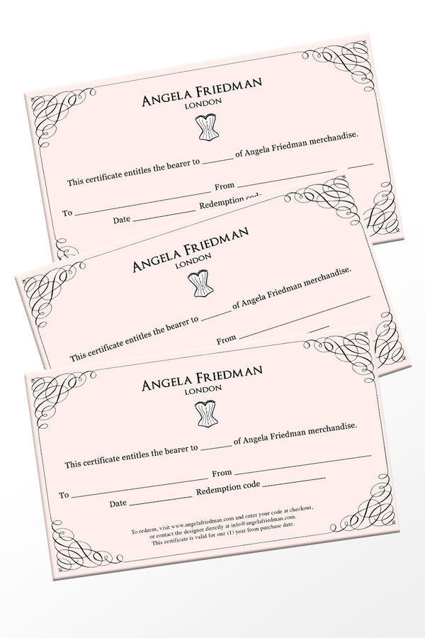 Angela Friedman lingerie gift certificate gift card, pink luxury designer british lingerie gifts UK GB made in England London brand