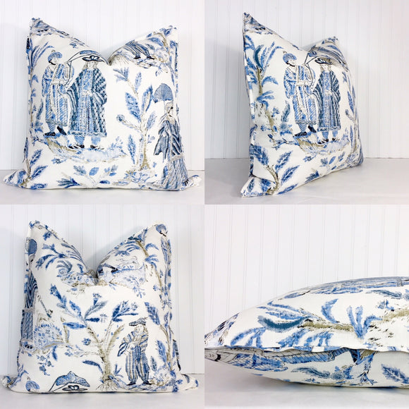 One or Both Sides - ONE Thibaut Royale Toile Pillow Cover with Self Cording