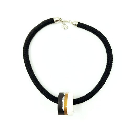 Clara 1 Necklace - Black, Bronze and White