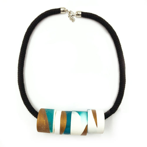 Clara 4 Necklace - Turquoise, Bronze and White