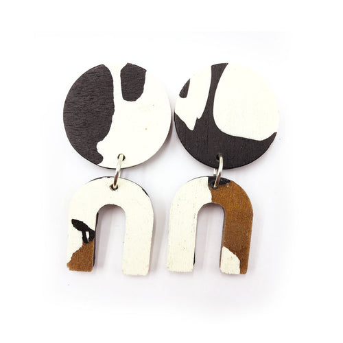 Daphne Earrings - black, bronze and white