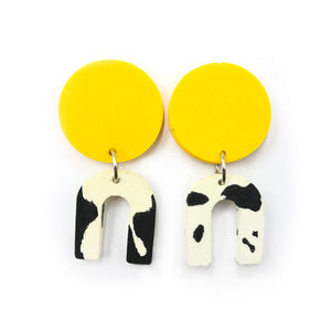 Daphne Earrings - yellow and black and white