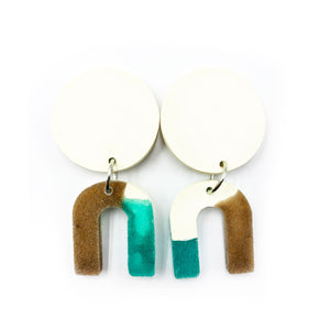 Daphne Earrings - white, turquoise, bronze and white