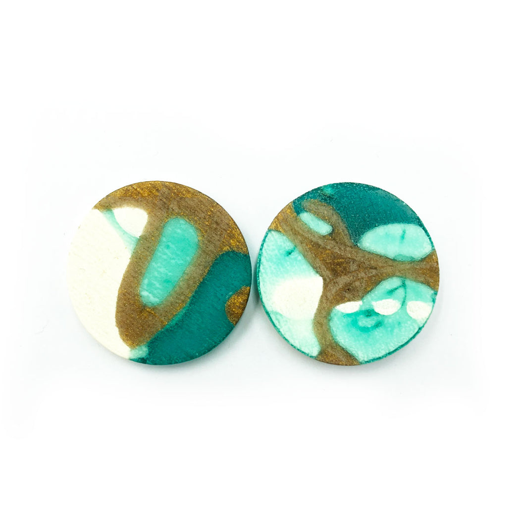 Darla Earrings  turquoise, bronze and white splashes