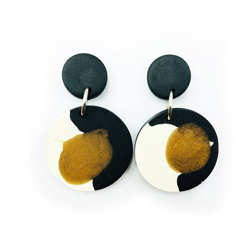 Denise Earrings - black, black bronze and white