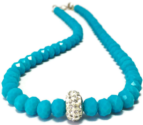 Handmade Blue Crystal Necklace for Women with Shiny Rhinestone Accent
